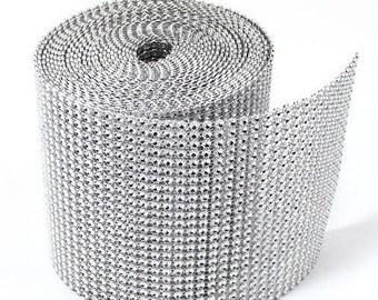 """4.75""""x10 Yards (24 row) Silver Diamond Mesh Wrap Roll Sparkle Rhinestone Crystal Ribbon"""