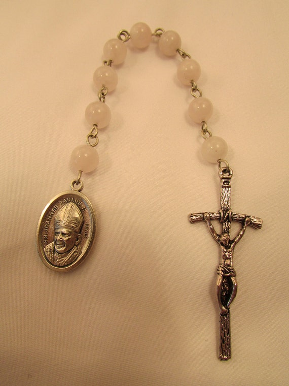 Pope John Paul II Chaplet with Rose Quartz Beads
