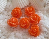 Resin Rose Flower Cabochon 10mm - 50 pcs - Orange