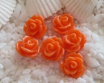 Resin Rose Flower Cabochon 10mm - 50 pcs - Orange