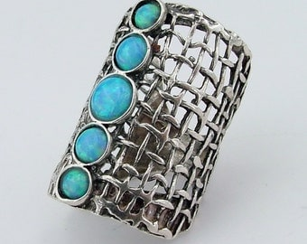 Hadar Hand Crafted Art Sterling Silver Opal Ring size 9  (1142b)