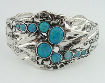 Great Opal  Wide 925 Sterling Silver Cuff Bracelet, Blue Opal Silver Bracelet, October birthstone, Birthday gift, Everyday, Wedding  (h 311