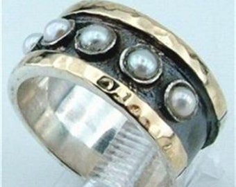 New Stunning Israel Handmade Artistic 925 sterling Silver 9k yellow Gold Pearl Ring 7.5 (I r83)