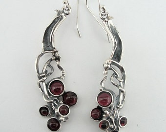 Hadar NEW Israel Long Sterling  Silver Garnet Earrings (H 2103)