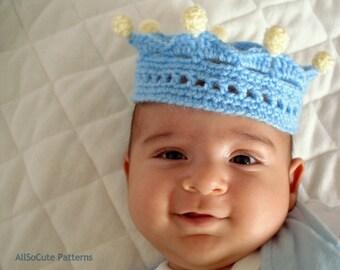 Crochet Crown Pattern, Baby Crown, Photography prop, Newborn photo prop, instant download
