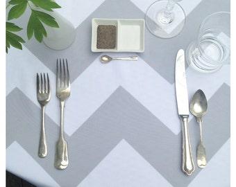 Modern, Grey Chevron Print LINEN Cloth Tablecloth, Choice of Size, Choice of Color, Nadine Westcott, Wedding Tablecloths, Baby Shower