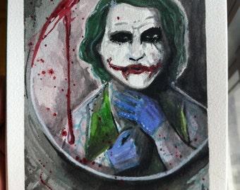 Joker Fixing His Tie Watercolor  (ORIGINAL) 5X7