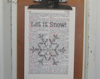 Let it Snow on Vintage Book Page