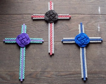 Rope Cross Choose Colors Natural Purple Green Blue Browns Cross Collectors