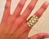 Brass Double Seed of Life Ring Size 5-7