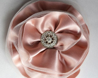 luxe satin and tulle flower headpiece- pink