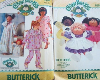 Vintage Cabbage Patch Kids Sewing Patterns from 1984 and 1986--patterns for you and your doll with iron on transfer