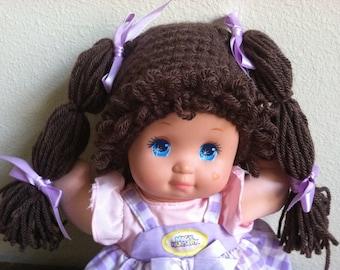 Cabbage Patch Kid Style Crocheted Dark Brown Wig Hat Halloween Costume for Baby Girls Size Newborn to 12 Months