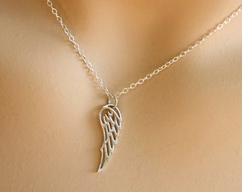 Silver Angel Wing Necklace, everyday, wedding, bridesmaid gifts, best friends, mothers, sisters