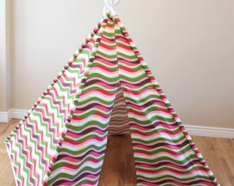 CLEARANCE Pink, Green, Lime, Tan, Salmon, Brown, White Striped, Stripe, Play Teepee, Tee Pee, Tent, Wigwam, (poles included) Ready to Ship