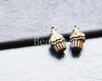6pcs / Charm / Antique Brass / Base Metal / Cup Cake 8x15mm (YB18803//O242)