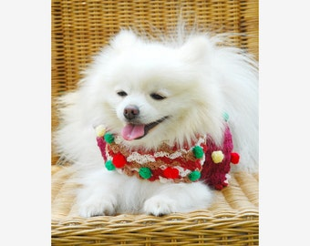 Maroon Dog Coat Cute Crocheted Pomeranian Clothes with Bubble Colorful Clothes For Cat Yorkie Puppy Dachshund by Myknitt DK839 Free shipping