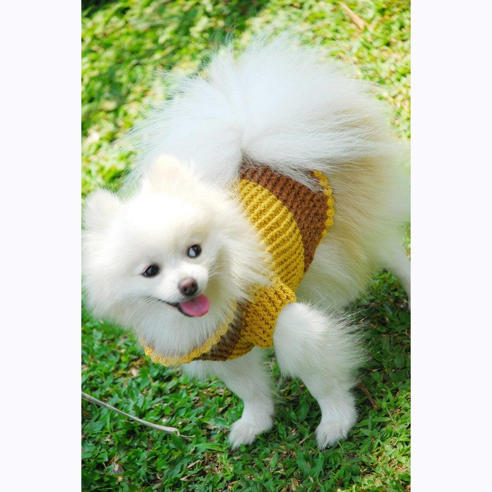 Crochet Xxs Dog Sweater : Crochet Pet Sweater XXS Dog Clothes Yellow Mustard by myknitt