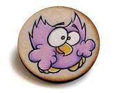 Wood Brooch featuring Cute Owl, Hand Drawn, One of a Kind, Purple, Handmade, Pin, Animal, Hoot, Jewelry, Bird Badge