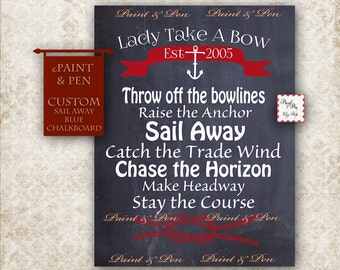 CUSTOM Blue Chalkboard -Sail Away -Boating Decor -Boating Gift -Sailing Decor -Sailing Poster -Sail Away With Me- Come Sail Away -Sail Quote