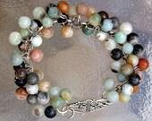 Bracelet Womens Semi Precious Stone on Chain Chunky Ocean Jasper