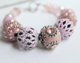 Chunky Statement Bracelet - Rustic Bridesmaid Gift - Shabby Chic Jewelry - Pink Beaded Bracelet - Filigree Bracelet - Hand painted Jewelry