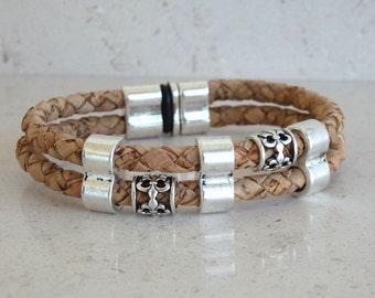 Portuguese twisted cork bracelet with zamak clasp - cork bracelet - Portugal - Portuhuese cork (PU70Z10)