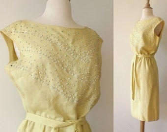 SALE PARNES FEINSTEIN Canary Yellow Wiggle Summer Dress ~  Sleeveless Linen Beaded Dress