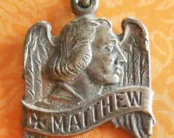 "Saint Matthew with Wings Vintage Religious Medal Pendant on 18"" sterling silver rolo chain"