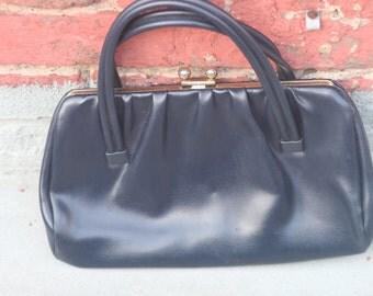 1980s navy vinyl handbag