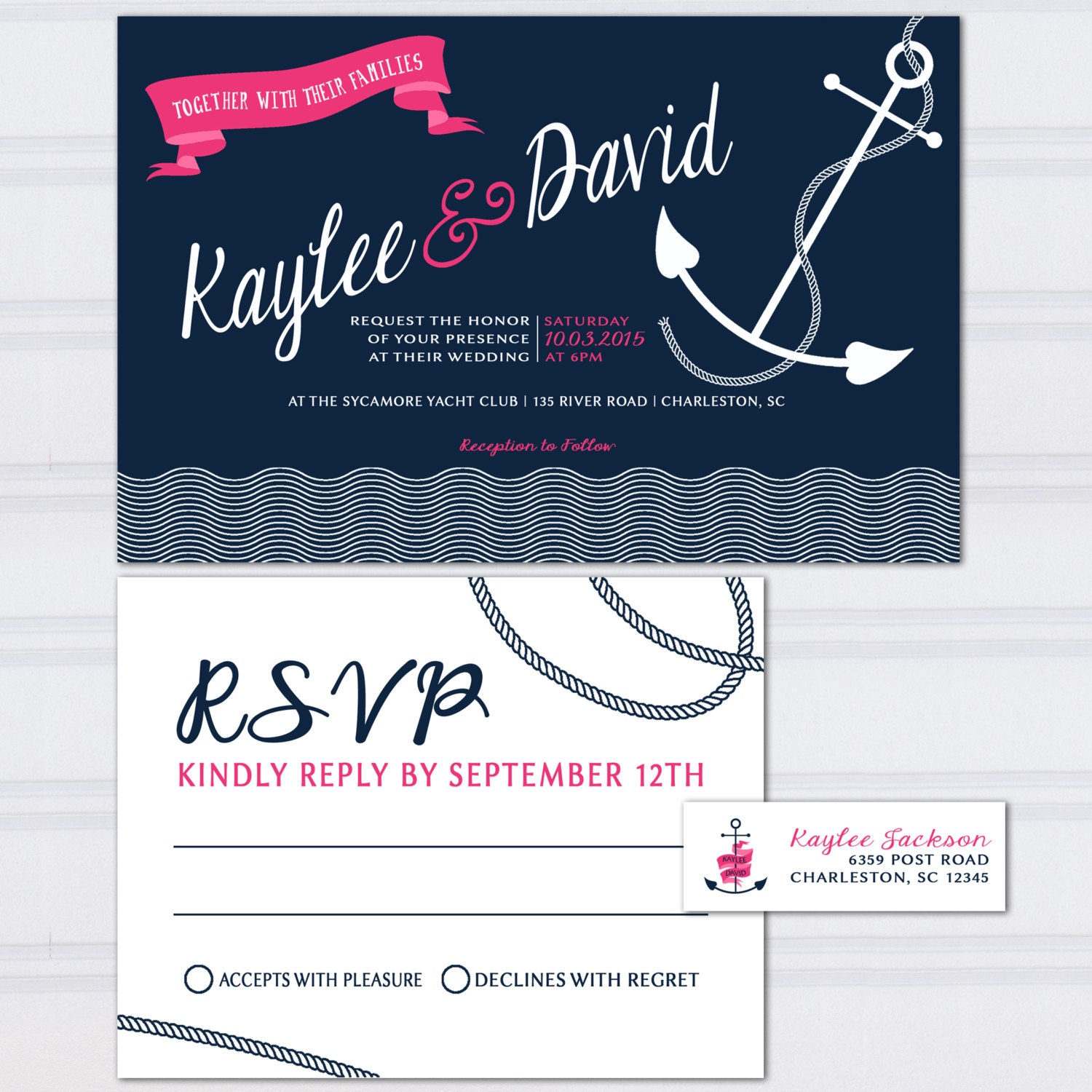Nautical Wedding Invitations Personalized Anchor Invites Tie