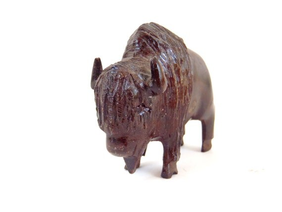 Wood carving animal hand carved bison american buffalo