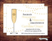 Printable Monogram and Mimosas Shower Invitation or any occasion (digital file) DIY Printing at home or your choice of printer