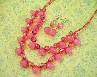 Pink Beads Necklace, Beaded Jewelry, Pink Earnings, Pink Jewelry, Jewelry Set