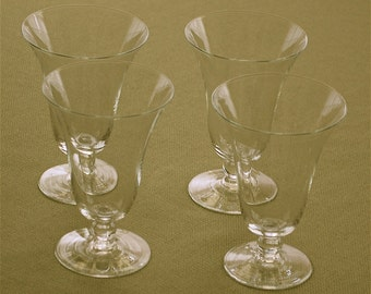 """Vintage """"CANDLEWICK"""" one bead stem 9 oz tumbler set/4 by the Imperial Glass Co., ca 1941"""