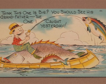 "Vintage ""FISHING"" humorous postcards group of 5"