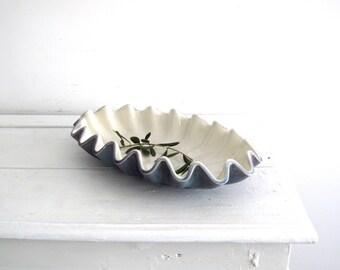 Vintage Ceramic Royal Haeger Dish - Vintage Purple Ceramic Dish - Scallop Edge Pottery Dish