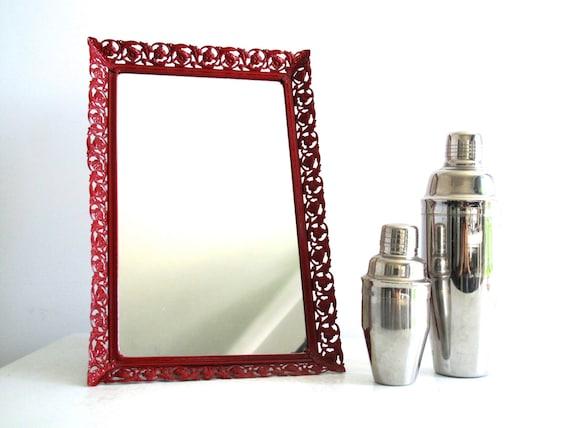 Vintage Metal Wall Mirror Ornate Red Frame By SnapshotVintage