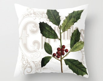 Throw Pillow Cover - Christmas Holly on Vintage Xmas Ephemera - 16x16, 18x18, 20x20 - Pillow case Original Design Home Décor by Adidit