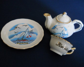 Vintage Tea Set - Vintage Porcelain Florida Souvenir - Collectible - Seashore Boating Scene - Childrens Ceramic Tea Set