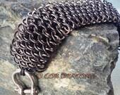 Black Steel and Stainless Steel Dragonscale Bracelet