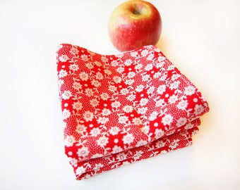Set of 3 Face Washers / Handkerchiefs  - Liberty Millie (Red)