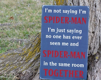 Spider man boys room super hero quote sign painted wood sign