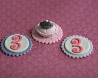 Fondant Princess Pillow, Crown and Age Cupcake Toppers for Princess Birthday Parties