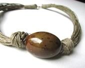Ceramic NUT - linen necklace