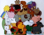 Farm (big package - 30 pieces) - felt toy with magnetic layer on the back