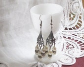 25% OFF SALE Dangly earrings oxidized silver vintage faux pearls and rhinestones dangly earrings