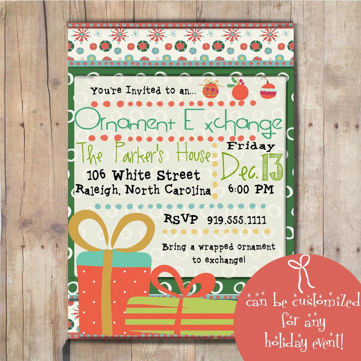 Digital Christmas Ornament Exchange Invitation Christmas