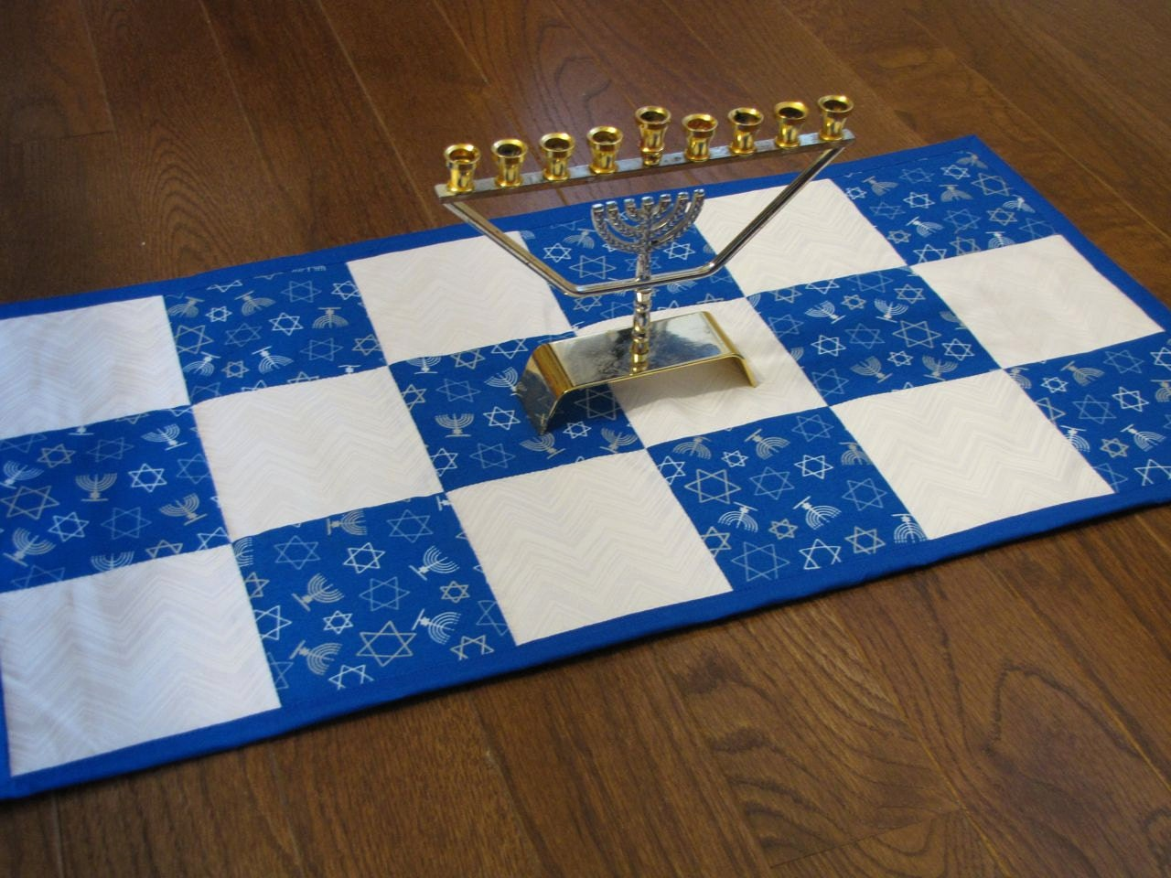 Hanukkah Table Runner Quilted Reversible By