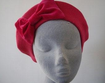 Pink Hat- Pink Beret Hat with Pink Velvet Bow